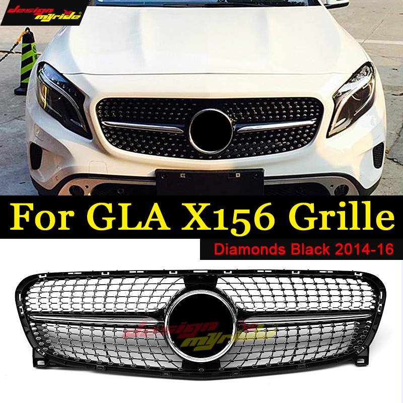 For Mercedes Benz GLA-Class X156 Diamonds grille GLA200 GLA250 Black ABS without central logo Diamonds Front Bumper Grille 14-16 grille