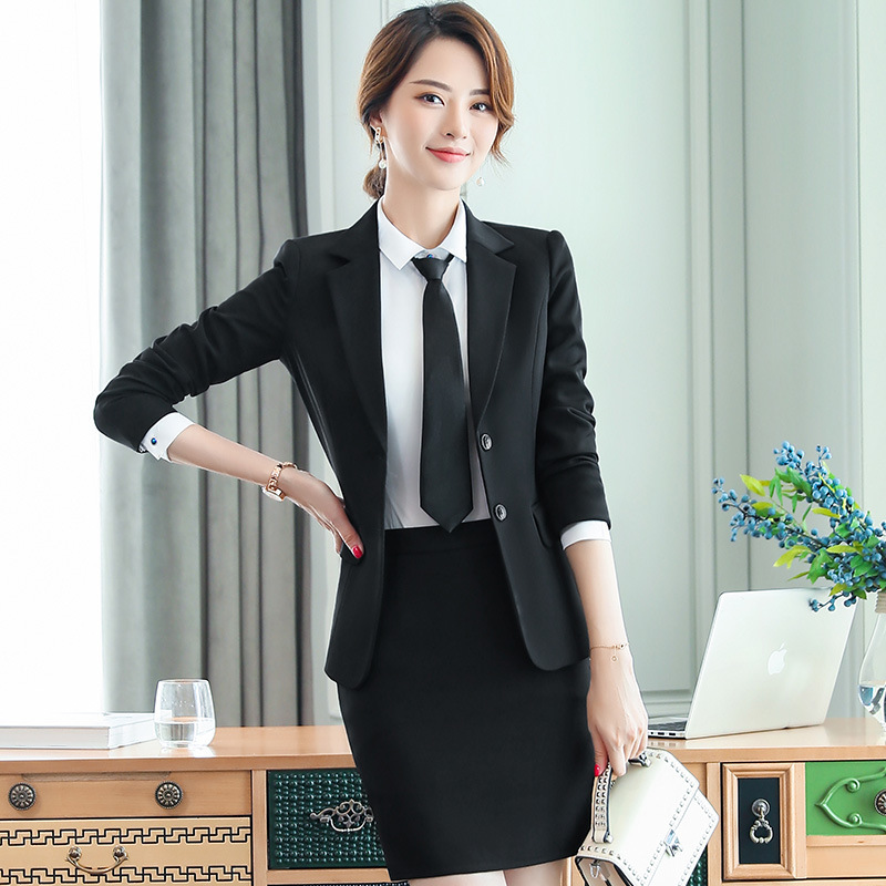 Suit Skirt Female Ladies Overalls-Uniform Trousers Three-Piece Interview Long-Sleeved