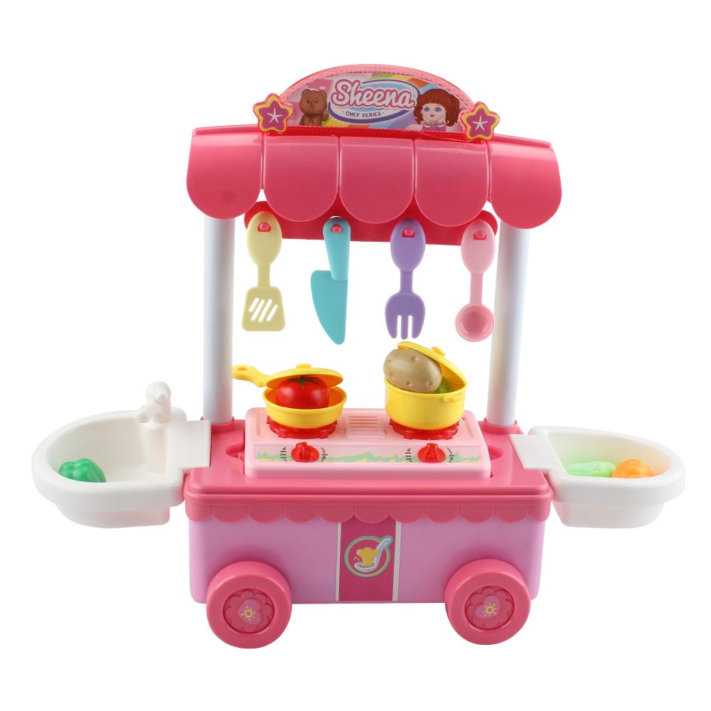 Kids Kitchen Toys Pretend Play Cooking Food Tableware Sets Baby Simulation Model Happy