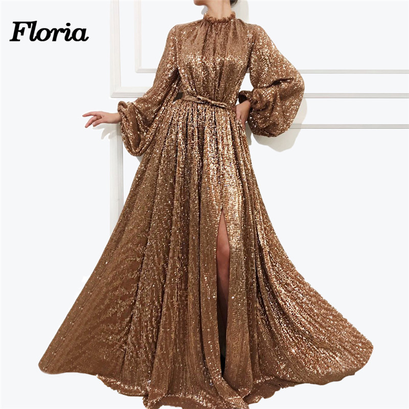 Sparkly Gold   Evening     Dresses   Arabic Sexy Side Split Prom   Dress   Aibye gece elbisesi Formal Party Gowns Robe de soiree Longue 2019