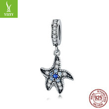 Dazzling Black Tropical Starfish Charm Authentic 925 Sterling Silver CZ Women Summer Jewelry Gift