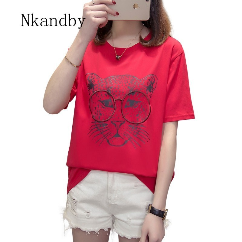 Nkandby Plus size Woman Tshirt 2019 Summer Clothing Oversized Leopard Print  Simple Tops Cotton O neck Women T shirt 4XL T shirts-in T-Shirts from  Women s ... 6769657d6d7a