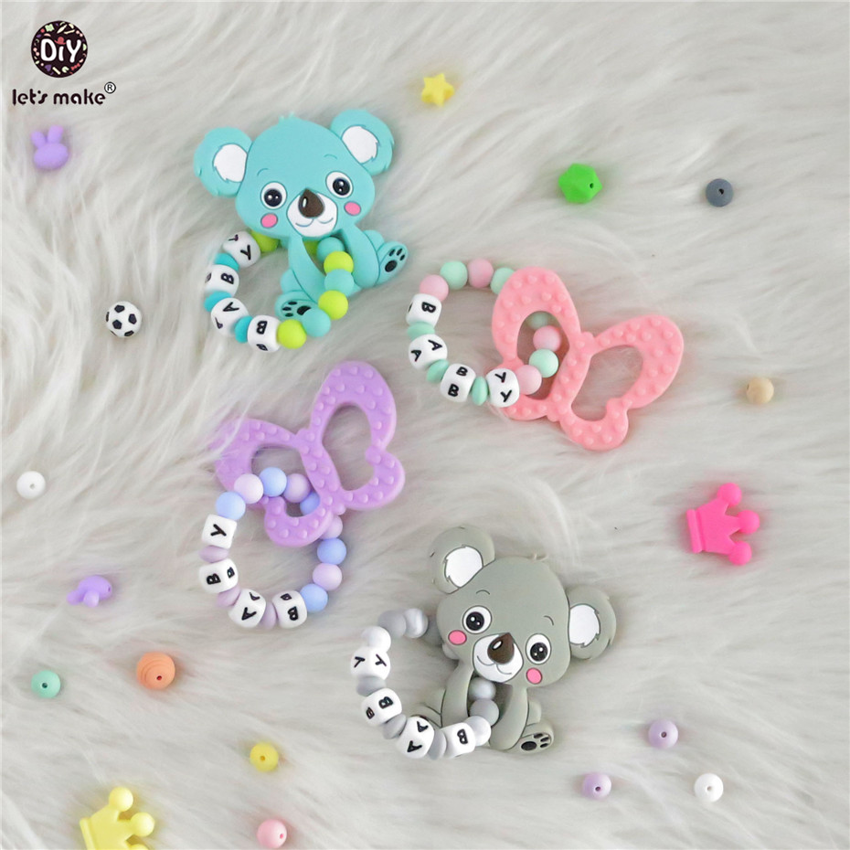 Lets Make 1pc Butterfly Rodent Silicone Pendant Customize Name Beaded Bracelet BPA Free Nurse Gift Baby Nursing Bracelet