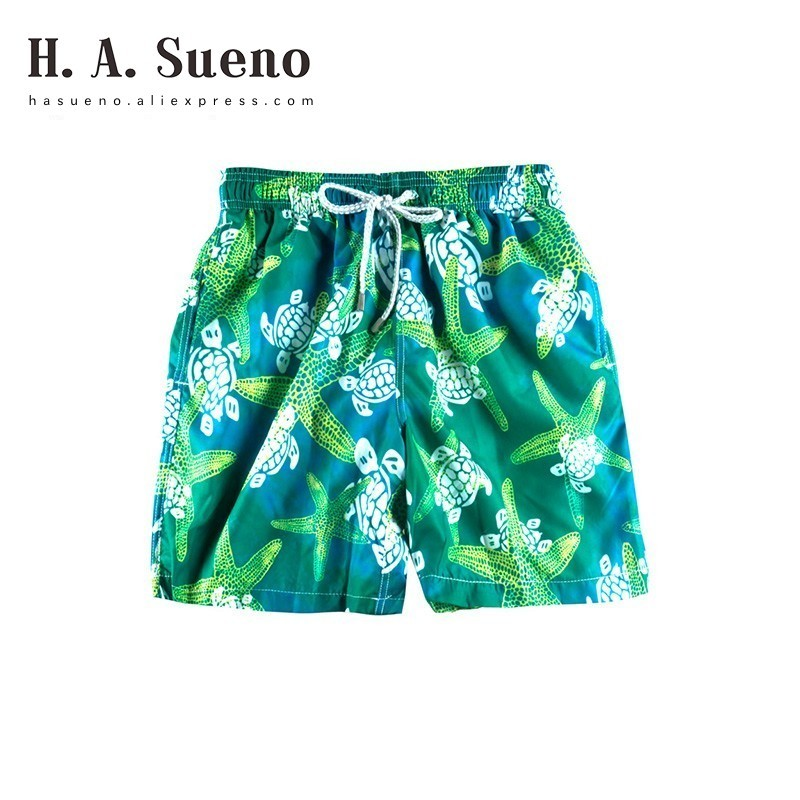 H.A.Sueno 2018 Fashion Funny Turtle Mens Beach Shorts Bermuda Surf Beach Shorts Green Summer Quick Dry Swimming Trunks /6