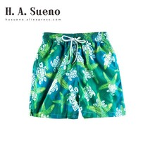 H.A. Sueno H.A.Sueno 2018 funny Turtle mens Bermuda Surf Beach Shorts green summer