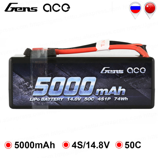 Gens ace 4S 5000mAh 50C-100C 14.8V Lipo Battery with Deans Connector Battery Pack for 1:8 1:10 RC Car E Buggy Truggy NEW Arrive