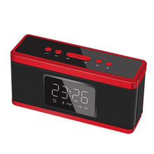 Mini Portable Clock Alarm Subwoofer Bluetooth Small Stereo Dual Speaker Card Desktop Steel Cannon