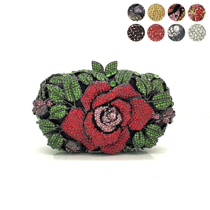 Bridal wedding party purse women evening party bag diamonds luxury colorful crystal clutch elegant rose flower