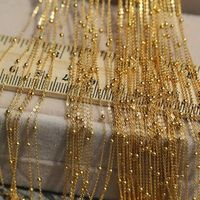New Solid 18k Yellow Gold Luck O Chain With Smooth Beads Necklace 16.5inch