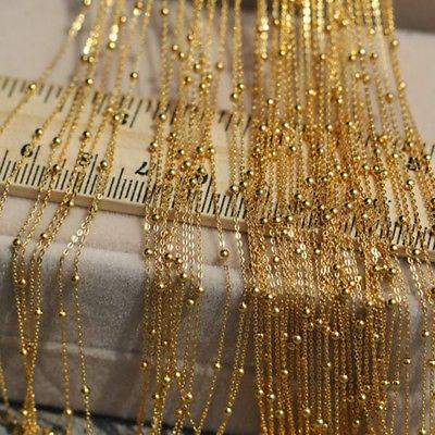 Takı ve Aksesuarları'ten Kolyeler'de Yeni Katı 18k Sarı Altın Şans O Zincir Pürüzsüz Boncuk Kolye 15.7 inç 19.6 inç'da  Grup 1
