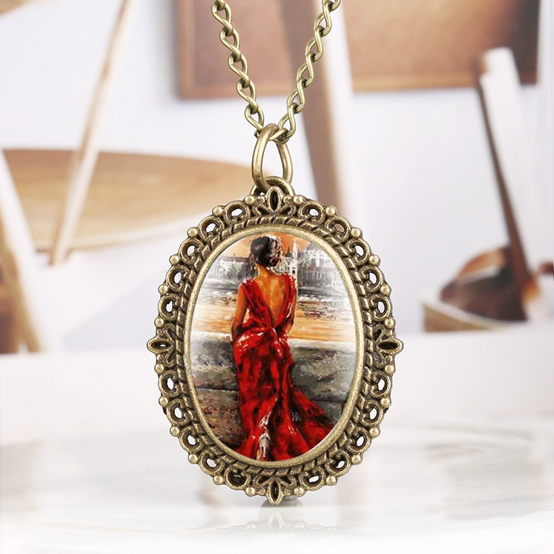 Modern Oil Painting Elegant Beauty In Red Dress Quartz Pocket Watch Necklace Jewelry Pendant Clock Top Cute Gift For Girls Woman