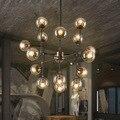 Loft Industrie Bohnenstange Kreative Minimalistischen Nordic Eisen Kunst Glas Ball Anhänger Licht Wohnzimmer Restaurant 8/9/16 Köpfe
