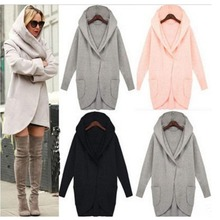 Autumn Women Long Trench Coat Solid Pocket Sleeve Plus Size Cotton Blend Hooded Cardigans