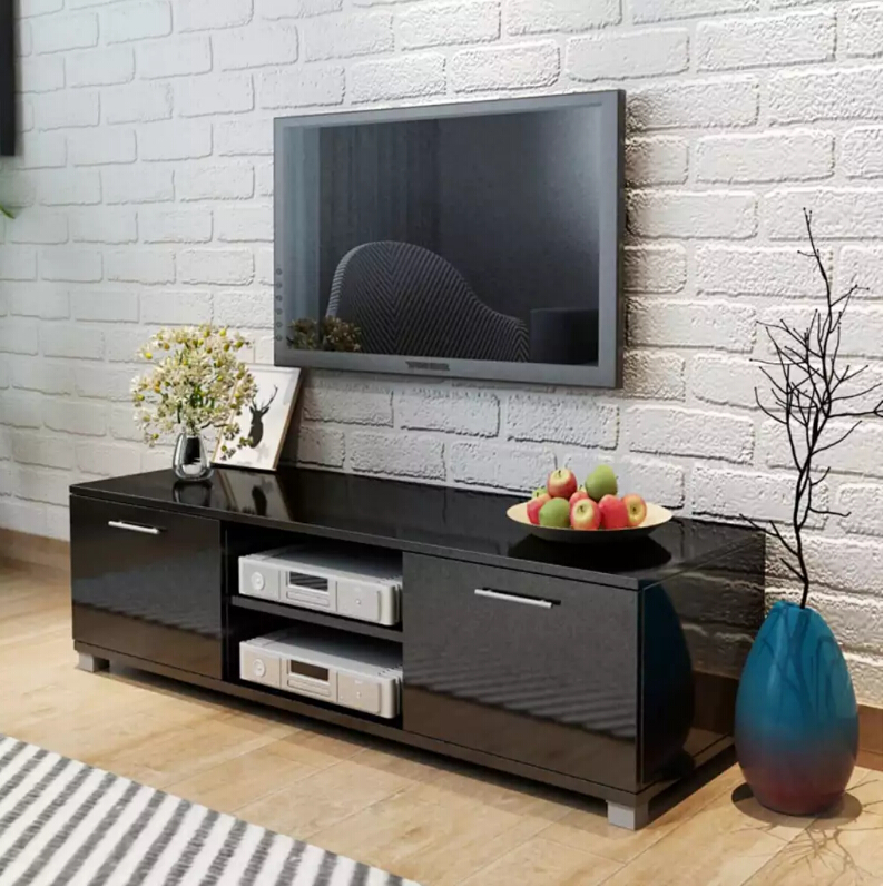 VidaXL TV Cabinet Glossy Black 120x40,3x34,7 Cm With 4 Cable Outlets 2 Shelves 2 Compartments With Doors Living Room FurnitureVidaXL TV Cabinet Glossy Black 120x40,3x34,7 Cm With 4 Cable Outlets 2 Shelves 2 Compartments With Doors Living Room Furniture