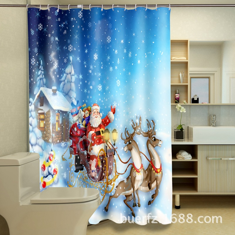 Cartoon Santa Claus Waterproof Shower Curtain unique shower curtains bathroom decoration free shipping