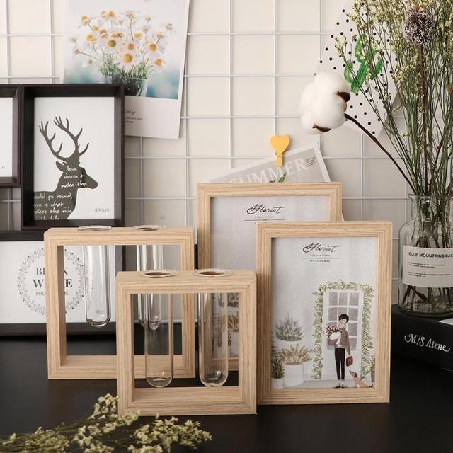 Creative Double Sided Photo Frame Wooden Crafts DIY Picture Poster Holder Frames with 2 Glass Bottles Home Desktop Decor
