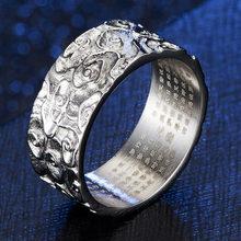 Buda rimbuu sutra rune amuleto fé anel para o budismo masculino deus da guerra inoxidável religioso escultura anéis de texto presente namorado