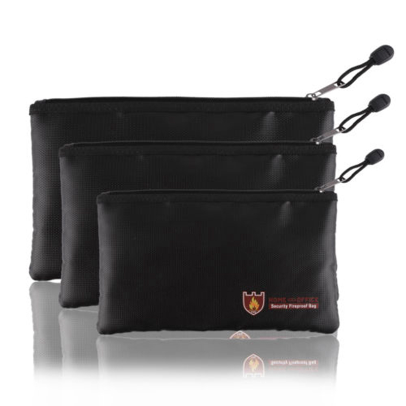 1 pcs Double Fireproof Document Bag Fire Resistant Protection Bag Fireproof Pouch Money Files Safety for Battery Money Safety