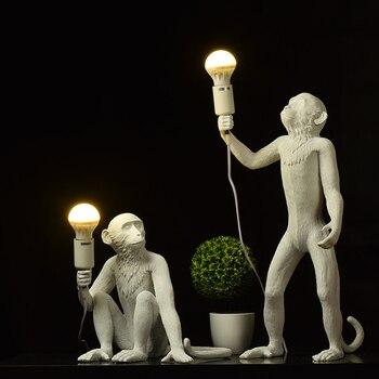 Resin Black White Gold Monkey Lamp Pendant Light For Living Room Lamps Art Parlor Study Room Led Lights lustre With E27 Led Bulb