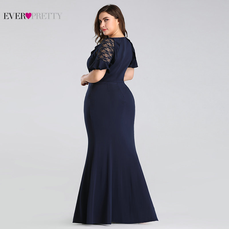 Image 4 - Plus Size Mother of the Bride Dresses 2020 Ever Pretty Elegant Navy Blue Mermaid Short Sleeve Lace Wedding Guest Party GownsMother of the Bride Dresses   -