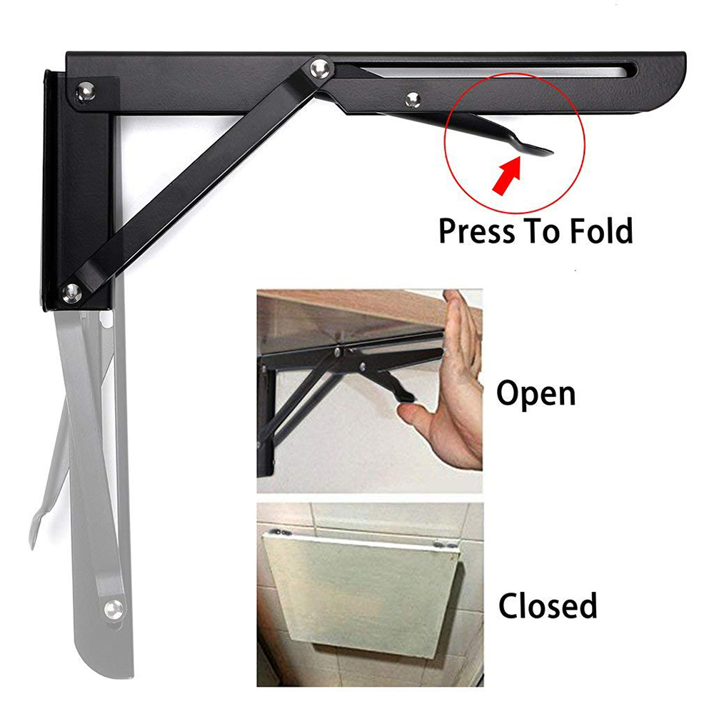 2Pcs Triangular Folding Bracket Metal Release Catch Support Bench Table Folding Shelf Bracket HomeBrackets   -