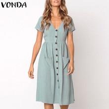 1eccb1780ba VONDA Women Knee-length Dresses 2018 Summer Pregnant Vintage Sexy V Neck  Short Sleeve Casual Maternity Buttons Plus Size Vestido