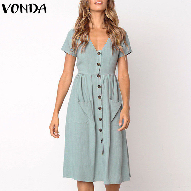 2eceab9621967 VONDA Women Knee-length Dresses 2019 Summer Pregnant Vintage Sexy V Neck  Short Sleeve Casual