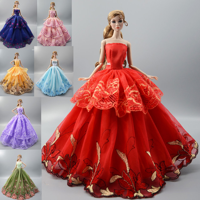 8a55d9a0d3cd7 2019 NEW Colorful Flower Lace Dress , Party Wedding Gown Skirt Clothing For  Toy 1/6 Barbie Xinyi Kurhn FR Doll barbie clothes