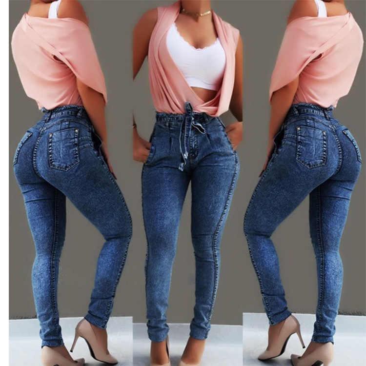 Pantalones vaqueros de cintura alta para mujer Vaqueros ajustados elásticos ceñidos cinturón de borla vendaje ajustado Push Up Jeans Mujer