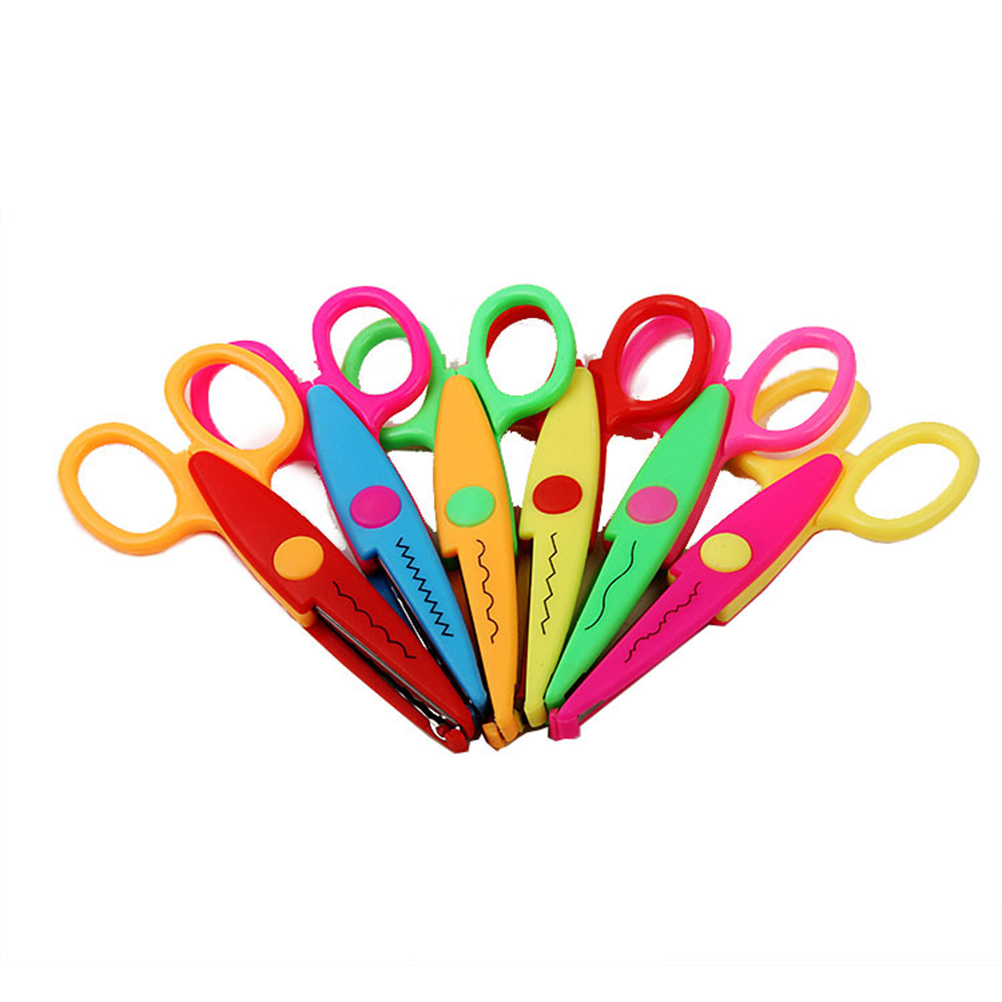6pcs Paper-Cutter Handmade Safety Six Patterns Lace DIY Scissors Set For Album Scrapbooking Children Handcrafts DIY Toys
