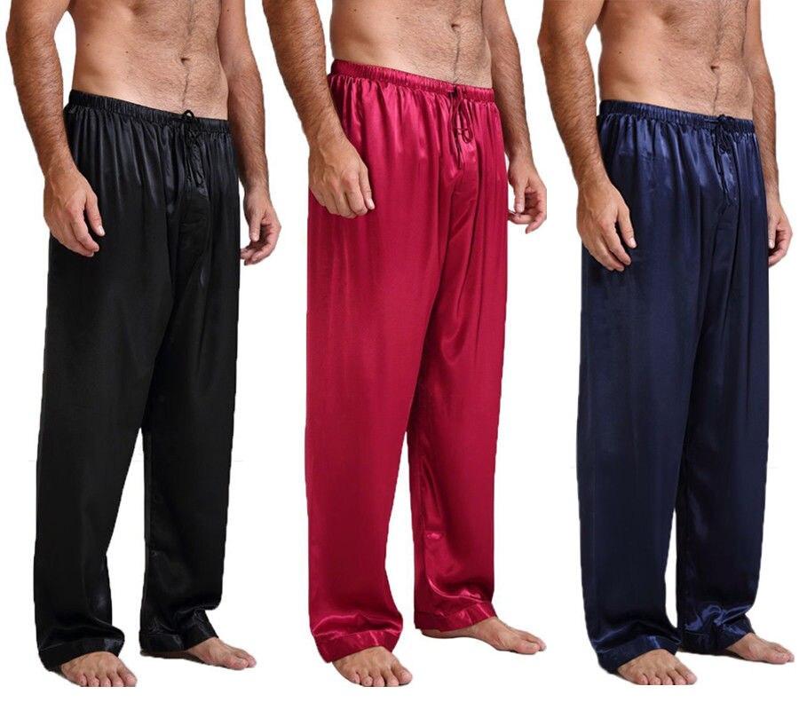 Casual Mens Silk Satin Sleep Bottoms Pajamas Pyjamas Pants Sleep Bottom Long Loose Homewear Pant Nightwear Sleepwear Trousers