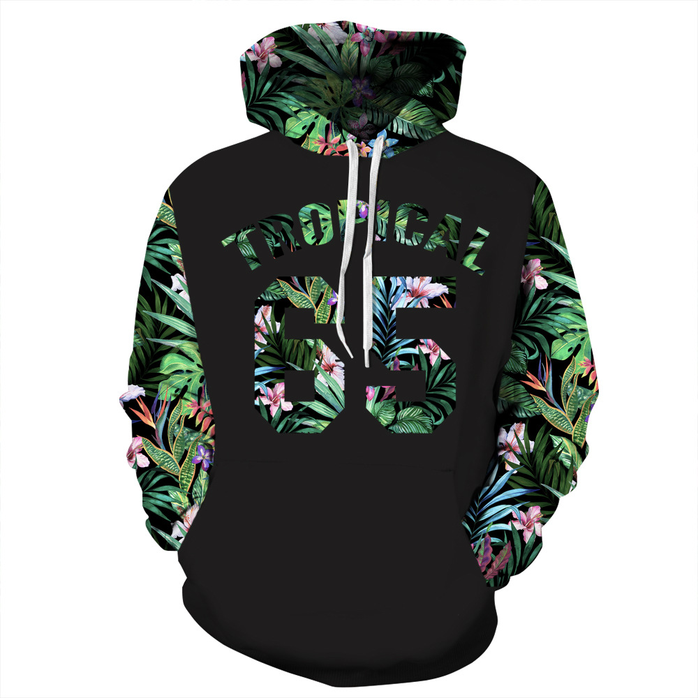 Tropical 65 Plant Leaf Print Hoodies Men Hoodie With Hat Round Neck Loose Sweatshirt Pullover Sudaderas Para Hombre Streetwear