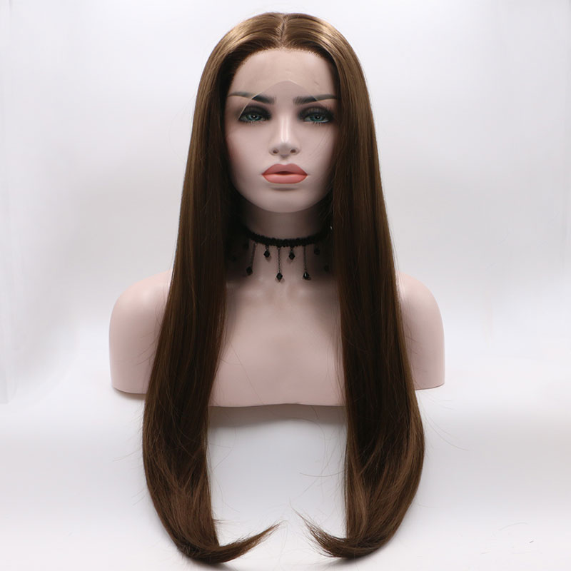 Bombshell Dark Brown Straight Synthetic Hand Tied Lace Front Wig Glueless Heat Resistant Fiber Hair Natural