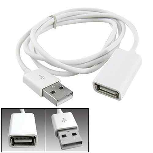 Fashion White PVC Metal USB 2.0 Male to Female Extension Adapter Cable Cord 1m 3Ft