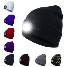 5751271d5e24e LED Headlamp Beanie Cap Rechargeable Lighted Hat With LED Head Light  Flashlight For Outdoor Evening Sport