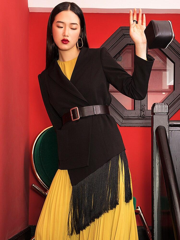 Irrégulière Couture Black Noir Asymétrie Femme W369 Ceinture Nouveau Femmes Manteau Gland Sauvage Long Blazer Suti Blazers 2019 l1uJcFKT35