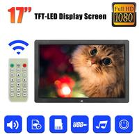 17 Inch Full Function Digital Photo Picture Frame With Remote Control Clock/Music/Video/Movie Player TFT LED Display Screen