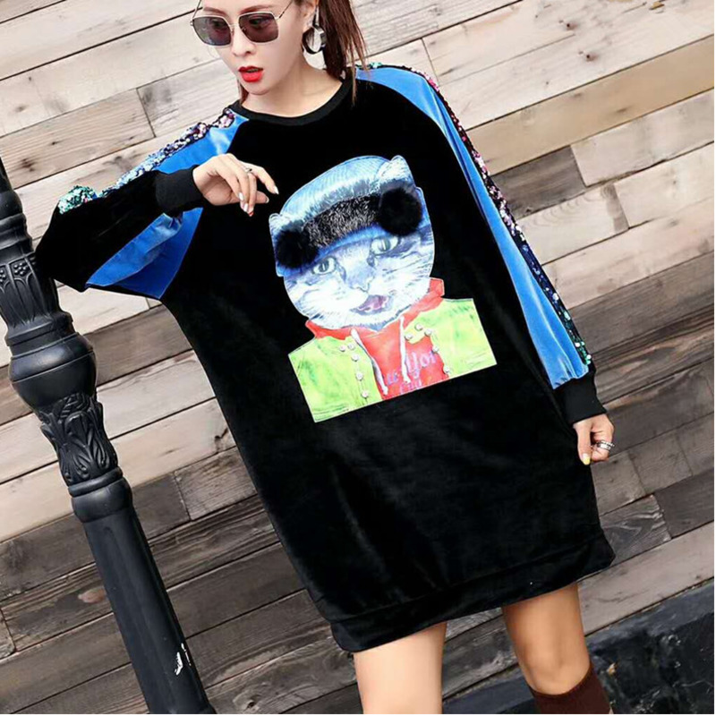 Sleeve Pullover Sweatshirt Dqm29 Black Autumn Dress Cat Women Mo Pleuche Cartoon Qing 2018 Velvet Sequin HO67twInq