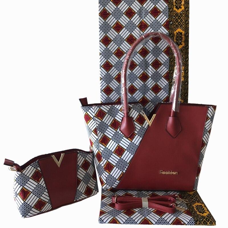 Neue Ankunft Afrikanische Dutch Wachs Tasche Und Wachs Fabirc Set Hohe Qualität frau Handtasche Mit 6 Yards Afrikanischen Wachs drucke Stoff-in Taschen mit Griff oben aus Gepäck & Taschen bei  Gruppe 2