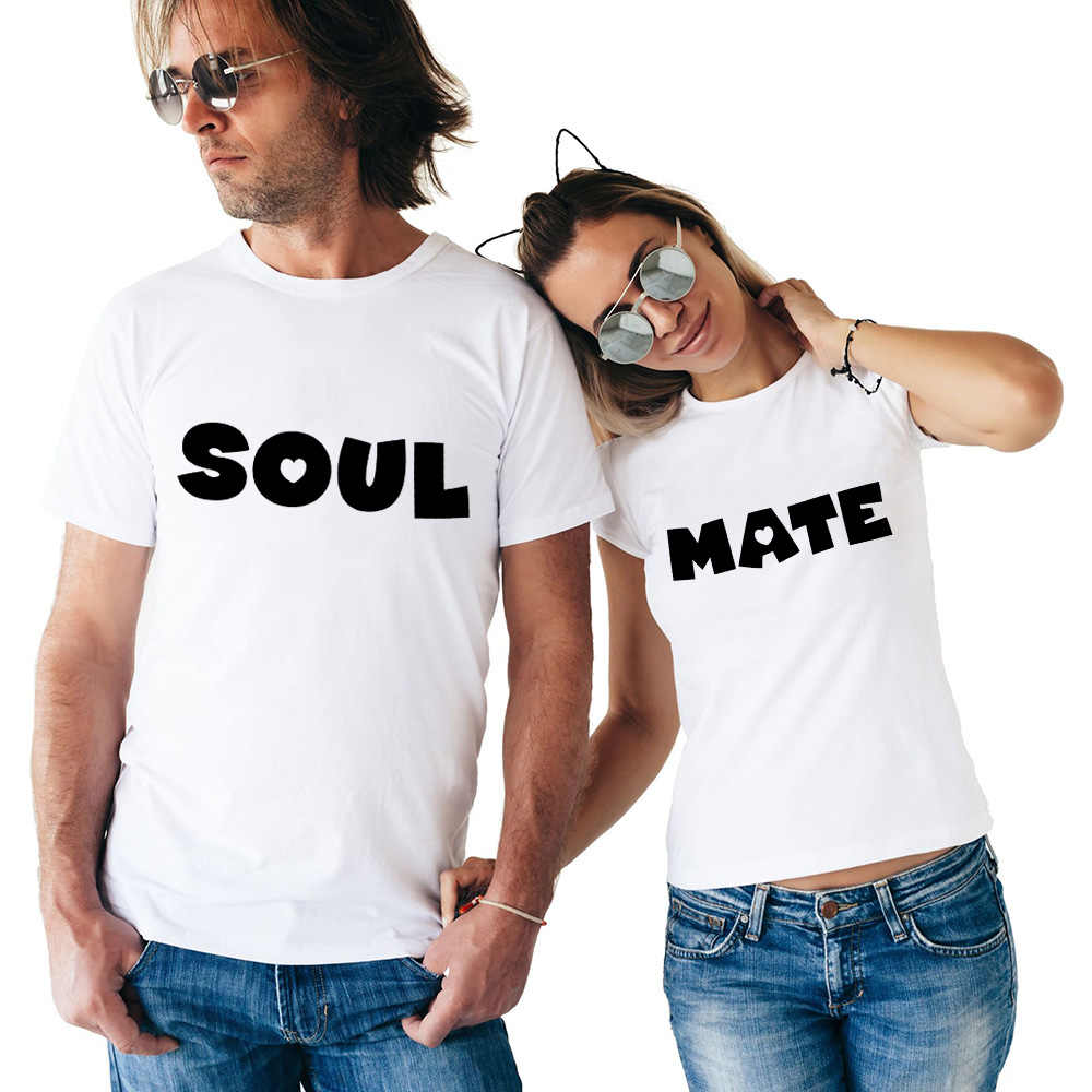 347b3a56fc7 Soulmates T Shirt Couples T-shirts Funny Matching Letter Wedding Top Tee  Couple Tshirt Cotton