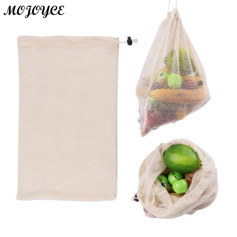 Reusable Organic Cotton Vegetable Mesh Bag For Men Women Home Kitchen Washable Fruit Drawstring Shopping Bags Feminina Mujer