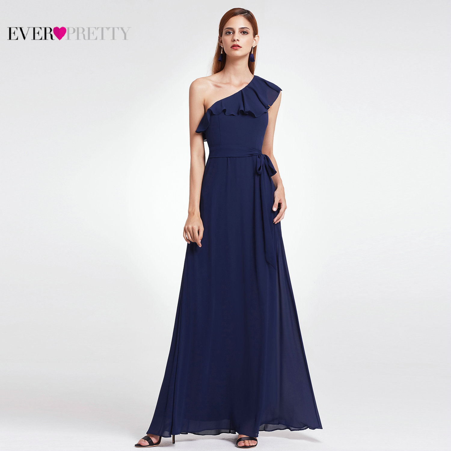 Evening Dresses Long 2020 Ever Pretty Elegant A-line Chiffon Beach Dresses Sexy Navy Blue Formal Party Gowns For Wedding Guest