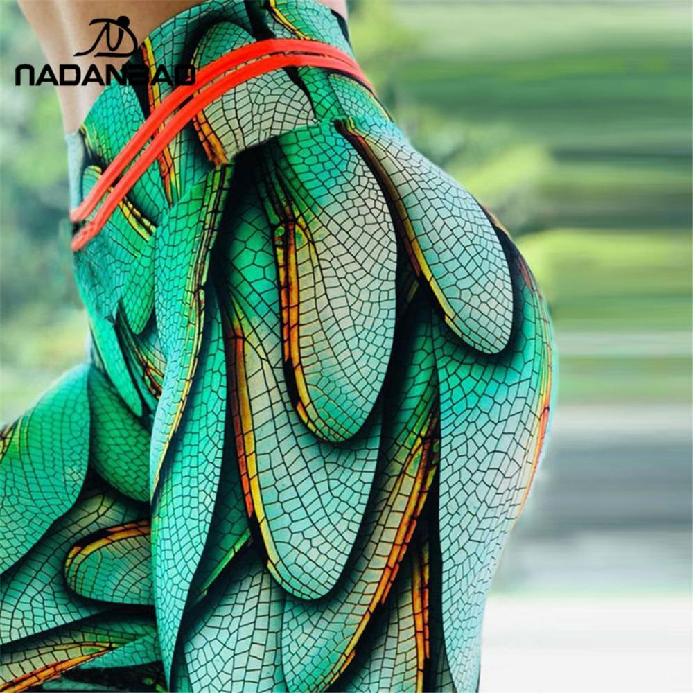 NADANBAO 2019 Summer Sporting Legging Women Green Wings Print High Waist Fitness Leggings Workout Leggin For Girl Plus Size