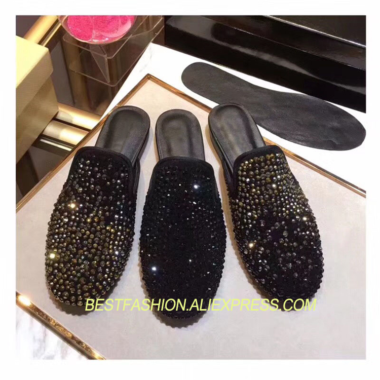 Hot Spring Summer Lazy Mules Shoes Woman Casual Crystal Round Toe Loafers Design Woman Cozy Slip On Flats Mujer Shoes Tide FHot Spring Summer Lazy Mules Shoes Woman Casual Crystal Round Toe Loafers Design Woman Cozy Slip On Flats Mujer Shoes Tide F