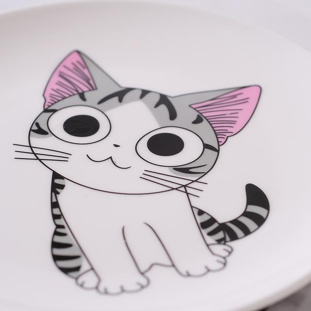 Dessin animé chat en céramique assiette créative Cuisine plat mignon blanc plaque Steak riz soupe os chine vaisselle cadeau céramica plat 2