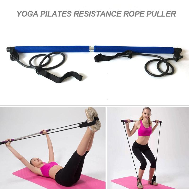 Body Abdominal Resistance Rope Puller Multi Functional Yoga Rally Rod Yoga Pilates Stick Fitness Bar