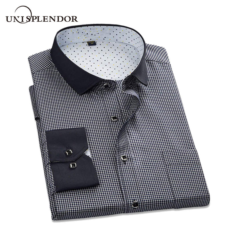Unisplendor 2019 Mäns Casual Plaid Shirt Långärmad Social Business Dress Skjortor Män Slim Fit T-shirt Plus Storlek S-4XL YN904