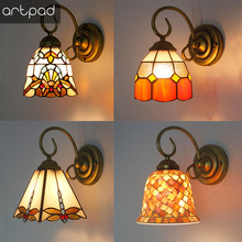 Artpad Turkish Style Mediterranean Sea Bracket Light Stained Glass Rustic Sconces Bedroom Aisle Bathroom Mirror Front Wall Lamp