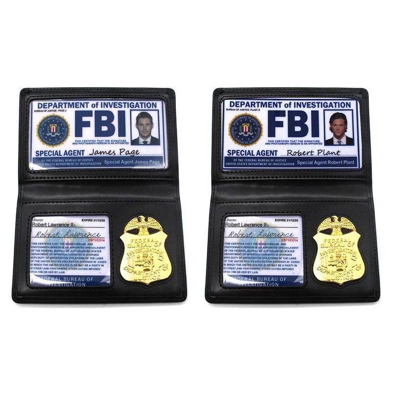 Kids Role Occupations Playing Toys Supernatural Dean Sam Winchester FBI Metal Badge Card Holder Police ID Cards Wallets Holder