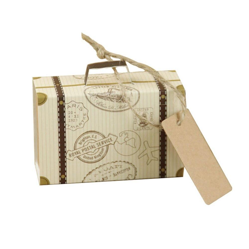 Ev ve Bahçe'ten Hediye Çantalar ve Sarma Malzemeleri'de Mini düğün şeker kutuları Favor malzemeleri dikdörtgen yaratıcı bavul hediye kutusu Dropshiipping title=